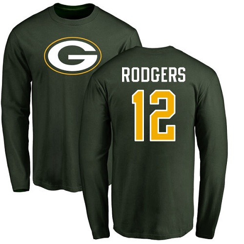 Men Green Bay Packers Green 12 Rodgers Aaron Name And Number Logo Nike NFL Long Sleeve T Shirt