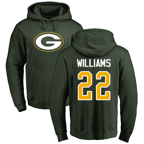 Men Green Bay Packers Green 22 Williams Dexter Name And Number Logo Nike NFL Pullover Hoodie Sweatshirts