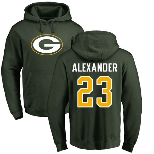 Men Green Bay Packers Green 23 Alexander Jaire Name And Number Logo Nike NFL Pullover Hoodie Sweatshirts