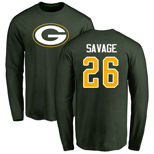 Men Green Bay Packers Green 26 Savage Darnell Name And Number Logo Nike NFL Long Sleeve T-Shir
