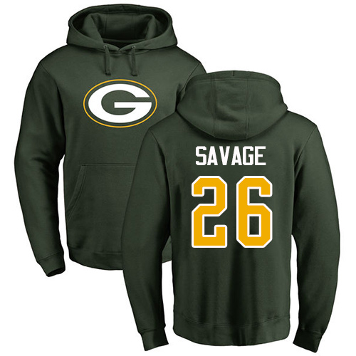 Men Green Bay Packers Green 26 Savage Darnell Name And Number Logo Nike NFL Pullover Hoodie Sweatshirts