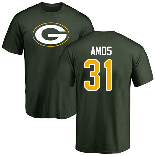 Men Green Bay Packers Green 31 Amos Adrian Name And Number Logo Nike NFL T Shirt