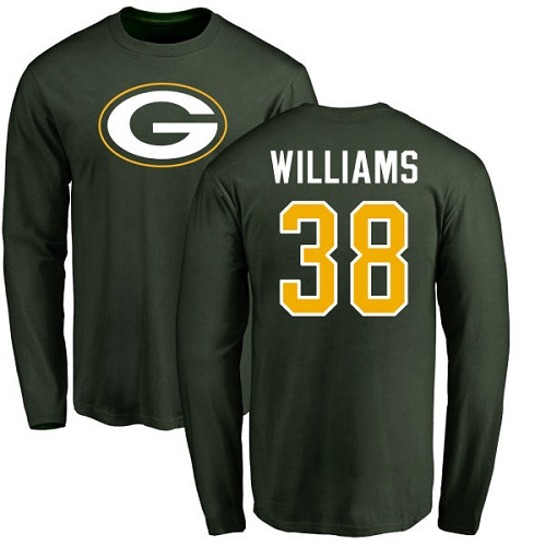 Men Green Bay Packers Green 38 Williams Tramon Name And Number Logo Nike NFL Long Sleeve T Shirt
