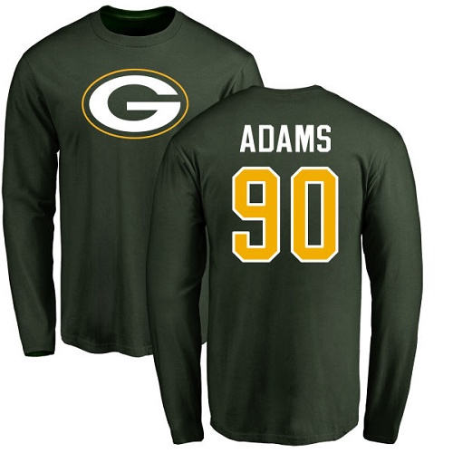Men Green Bay Packers Green 90 Adams Montravius Name And Number Logo Nike NFL Long Sleeve T Shirt