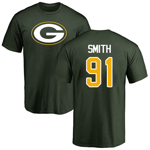 Men Green Bay Packers Green 91 Smith Preston Name And Number Logo Nike NFL T Shirt