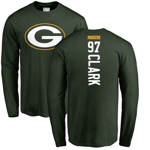 Men Green Bay Packers Green 97 Clark Kenny Backer Nike NFL Long Sleeve T Shirt