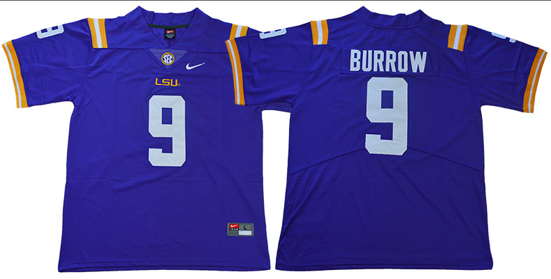 Men LSU Tigers 9 Burrow Purple NCAA Jersey