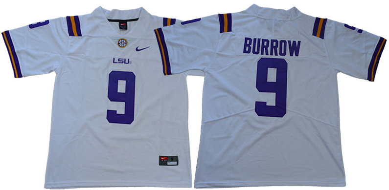 Men LSU Tigers 9 Burrow White NCAA Jersey