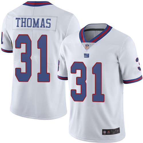Men New York Giants 31 Michael Thomas Limited White Rush Vapor Untouchable Football NFL Jersey