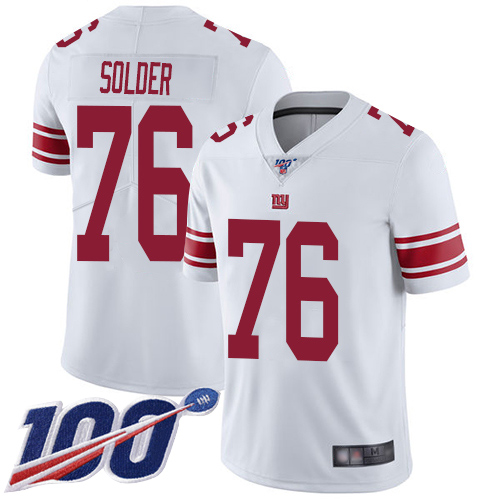 Men New York Giants 76 Nate Solder White Vapor Untouchable Limited Player 100th Season Football NFL Jersey