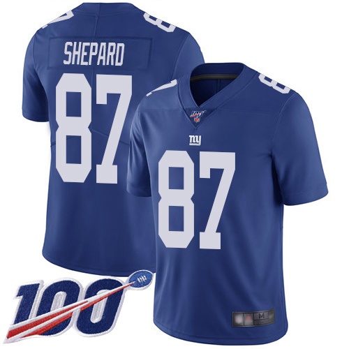 Men New York Giants 87 Sterling Shepard Royal Blue Team Color Vapor Untouchable Limited Player 100th Season Football NFL Jersey