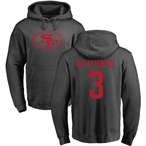 Men San Francisco 49ers Ash C. J. Beathard One Color 3 Pullover NFL Hoodie Sweatshirts