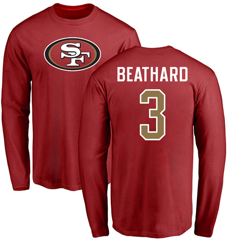 Men San Francisco 49ers Red C. J. Beathard Name and Number Logo 3 Long Sleeve NFL T Shirt