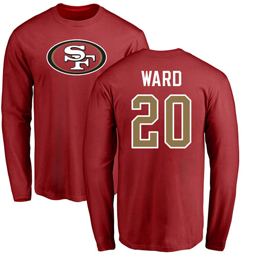 Men San Francisco 49ers Red Jimmie Ward Name and Number Logo 20 Long Sleeve NFL T Shirt