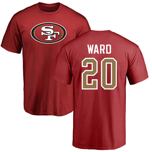 Men San Francisco 49ers Red Jimmie Ward Name and Number Logo 20 NFL T Shirt