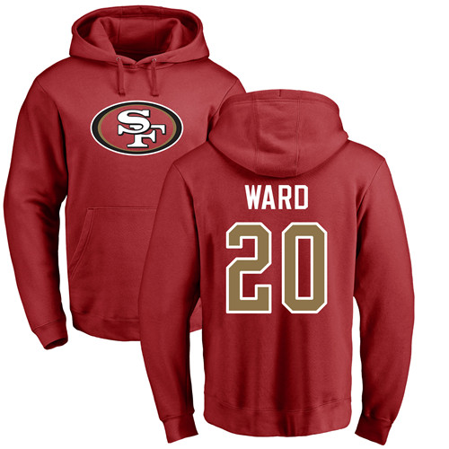 Men San Francisco 49ers Red Jimmie Ward Name and Number Logo 20 Pullover NFL Hoodie Sweatshirts