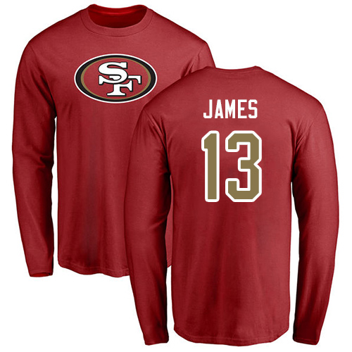Men San Francisco 49ers Red Richie James Name and Number Logo 13 Long Sleeve NFL T Shirt
