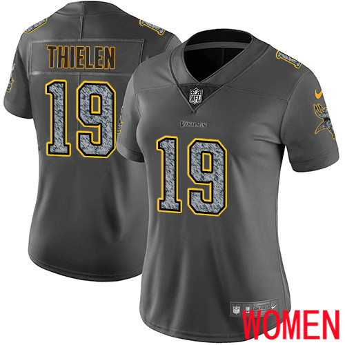 Wholesale Minnesota Vikings 19 Limited Adam Thielen Gray Static Nike NFL Women Jersey Vapor Untouchable