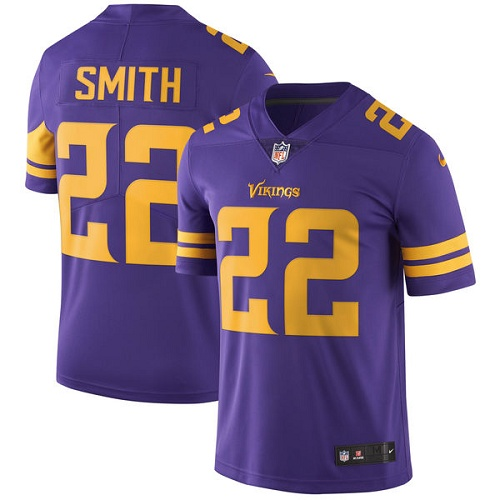 Minnesota Vikings 22 Limited Harrison Smith Purple Nike NFL Men Jersey Rush Vapor Untouchable
