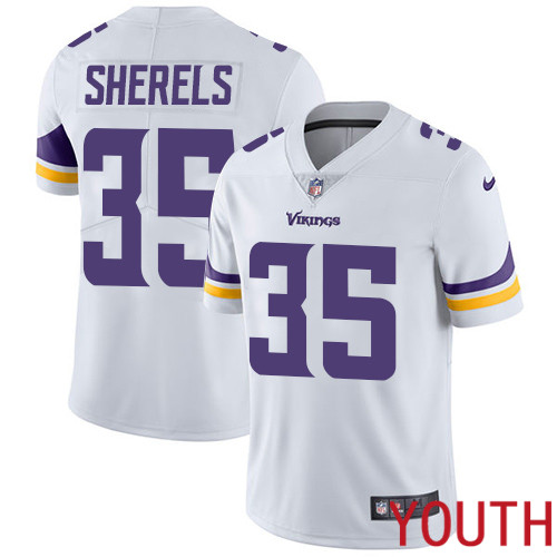 Minnesota Vikings 35 Limited Marcus Sherels White Nike NFL Road Youth Jersey Vapor Untouchable