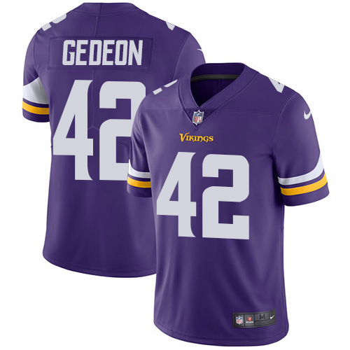 Minnesota Vikings 42 Limited Ben Gedeon Purple Nike NFL Home Men Jersey Vapor Untouchable