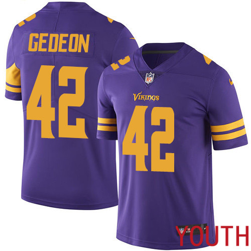 Minnesota Vikings 42 Limited Ben Gedeon Purple Nike NFL Youth Jersey Rush Vapor Untouchable