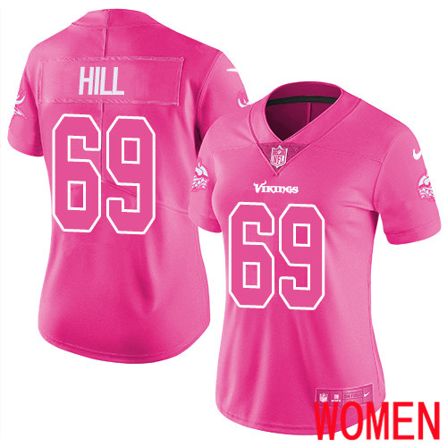 Minnesota Vikings 69 Limited Rashod Hill Pink Nike NFL Women Jersey Rush Fashion