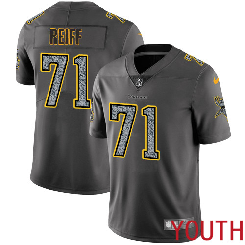 Minnesota Vikings 71 Limited Riley Reiff Gray Static Nike NFL Youth Jersey Vapor Untouchable