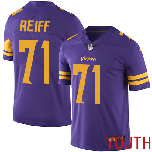 Minnesota Vikings 71 Limited Riley Reiff Purple Nike NFL Youth Jersey Rush Vapor Untouchable