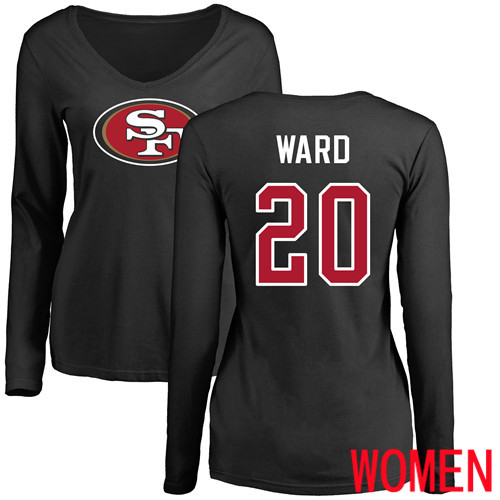 San Francisco 49ers Black Women Jimmie Ward Name and Number Logo 20 Long Sleeve NFL T Shirt