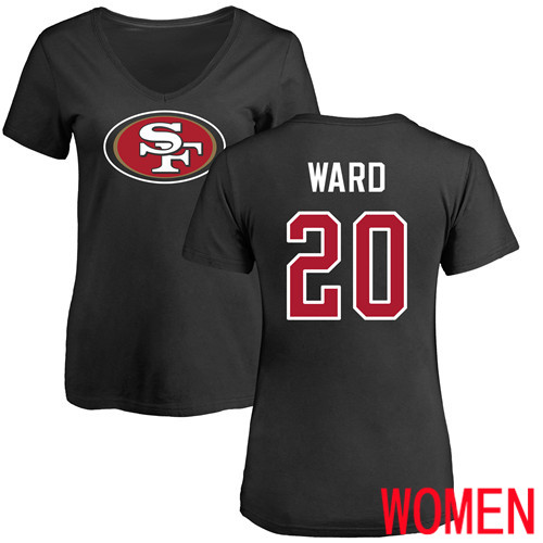 San Francisco 49ers Black Women Jimmie Ward Name and Number Logo 20 NFL T Shirt