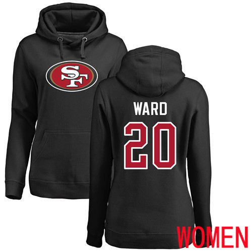 San Francisco 49ers Black Women Jimmie Ward Name and Number Logo 20 Pullover NFL Hoodie Sweatshirts