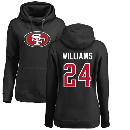 San Francisco 49ers Black Women K Waun Williams Name and Number Logo 24 Pullover