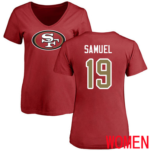 San Francisco 49ers Red Women Deebo Samuel Name and Number Logo 19 NFL T Shirt