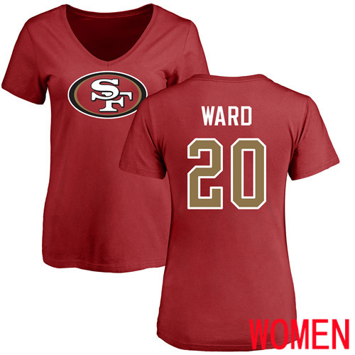 San Francisco 49ers Red Women Jimmie Ward Name and Number Logo 20 NFL T Shirt