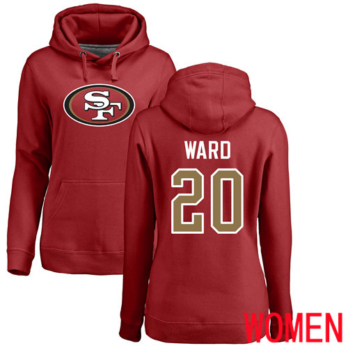 San Francisco 49ers Red Women Jimmie Ward Name and Number Logo 20 Pullover NFL Hoodie Sweatshirts