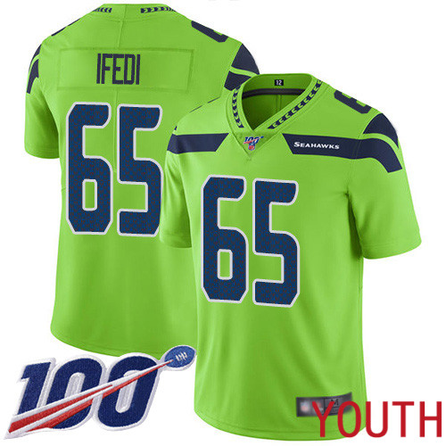 Seattle Seahawks Limited Green Youth Germain Ifedi Jersey NFL Football 65 100th Season Rush Vapor Untouchable