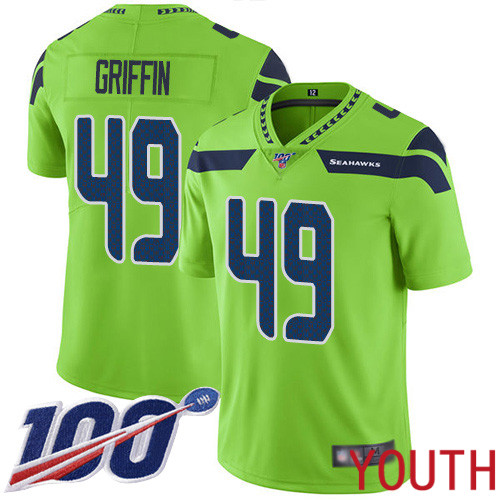 Seattle Seahawks Limited Green Youth Shaquem Griffin Jersey NFL Football 49 100th Season Rush Vapor Untouchable