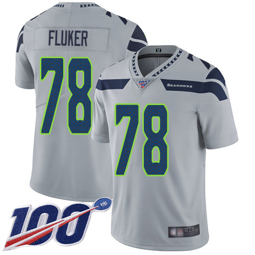 Seattle Seahawks Limited Grey Men D.J. Fluker Alternate Jersey NFL Football 78 100th Season Vapor Untouchable