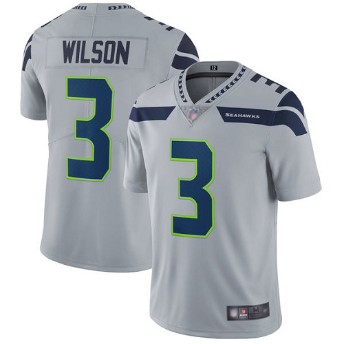 Seattle Seahawks Limited Grey Men Russell Wilson Alternate Jersey NFL Football 3 Vapor Untouchable