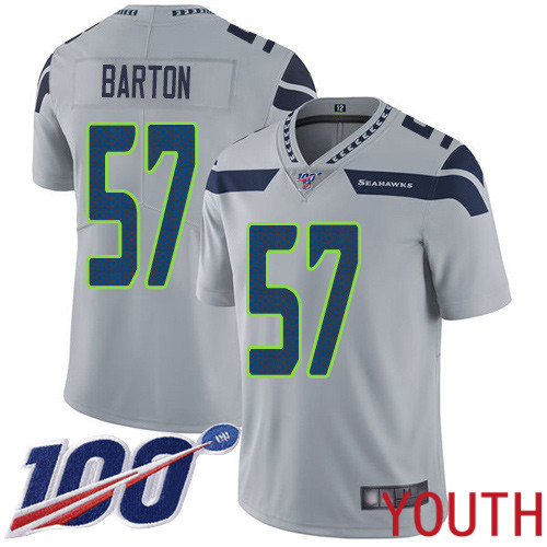 Seattle Seahawks Limited Grey Youth Cody Barton Alternate Jersey NFL Football 57 100th Season Vapor Untouchable