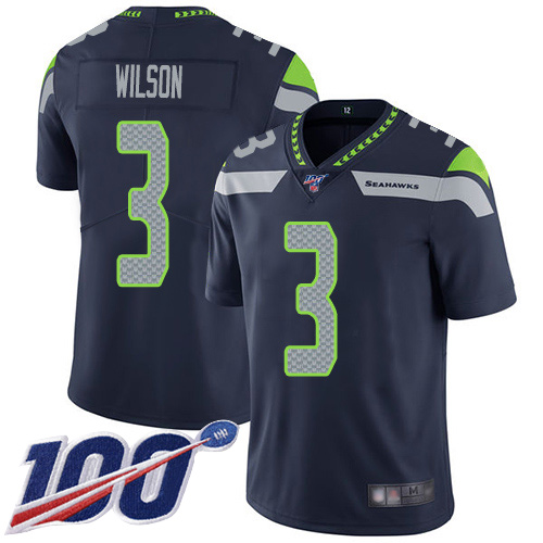 Seattle Seahawks Limited Navy Blue Men Russell Wilson Home Jersey NFL Football 3 100th Season Vapor Untouchable