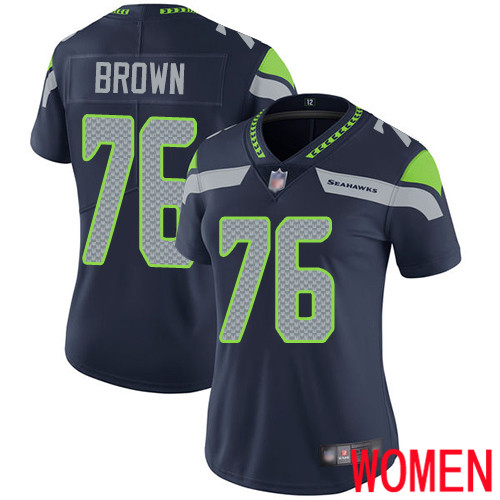 Seattle Seahawks Limited Navy Blue Women Duane Brown Home Jersey NFL Football 76 Vapor Untouchable
