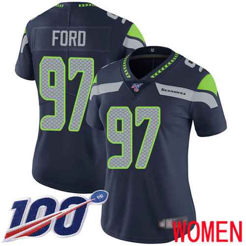 Wholesale Seattle Seahawks Limited Navy Blue Women Poona Ford Home Jersey NFL Football 97 100th Season Vapor Untouchable