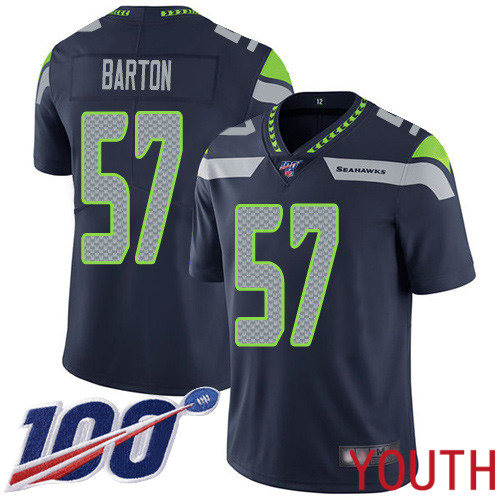 Seattle Seahawks Limited Navy Blue Youth Cody Barton Home Jersey NFL Football 57 100th Season Vapor Untouchable