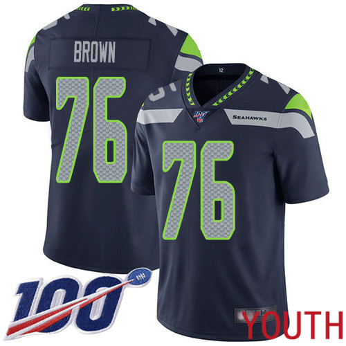 Seattle Seahawks Limited Navy Blue Youth Duane Brown Home Jersey NFL Football 76 100th Season Vapor Untouchable