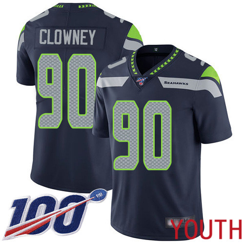 Seattle Seahawks Limited Navy Blue Youth Jadeveon Clowney Home Jersey NFL Football 90 100th Season Vapor Untouchable