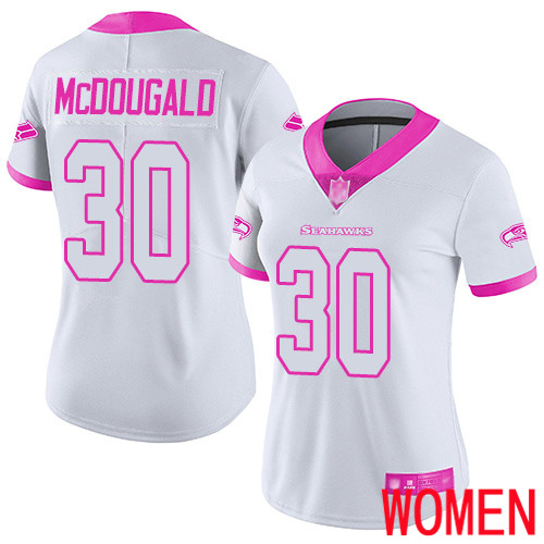 Seattle Seahawks Limited White Pink Women Bradley McDougald Jersey NFL Football 30 Rush Fashion