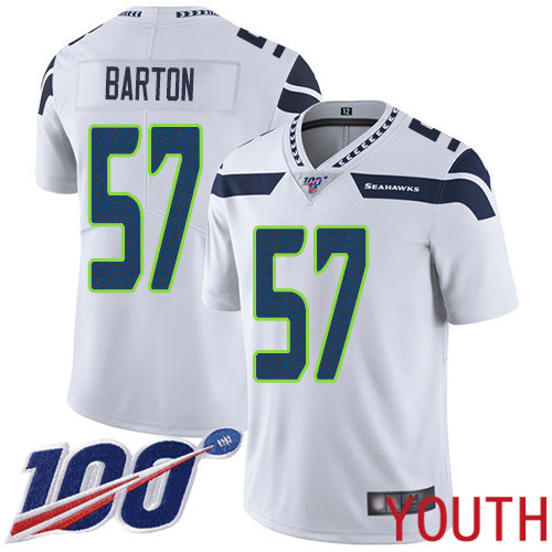 Seattle Seahawks Limited White Youth Cody Barton Road Jersey NFL Football 57 100th Season Vapor Untouchable