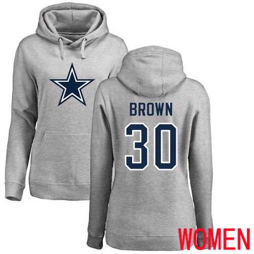 Women Dallas Cowboys Ash Anthony Brown Name and Number Logo 30 Pullover NFL Hoodie Sweatshirts